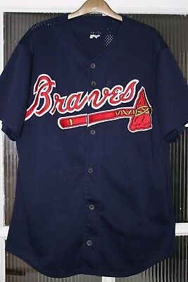 Atlanta Braves Majestic MLB Baseball Jersey Shirt Size Large Navy Blue USA