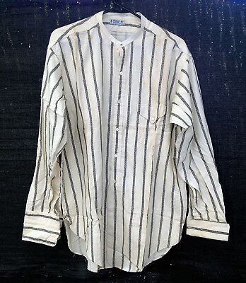 vintage F.A. Patrick Duluth cotton long sleeve shirt french cuffs collarless 17