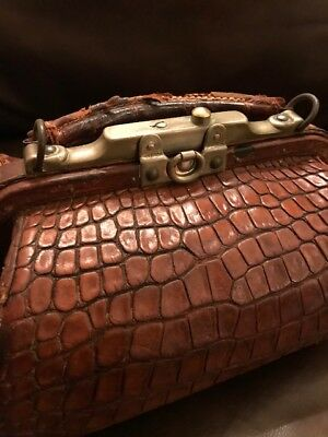 "Antique Alligator Leather Doctor Bag Small 12"" Long"