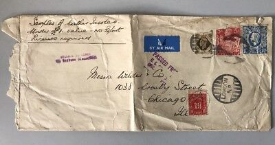 1940's Cover with 1s, 5s and 10/- GB stamps mailed to Chicago USA 10 postage due