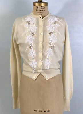 TM- Vintage 50s ivory 100% pure cashmere glass beads beaded cardigan sweater-S/M