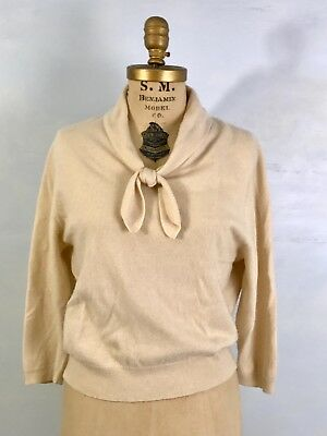 TN- Vintage Jaeger ivory/caramel rolled tie neck pinup 100% cashmere sweater-S/M