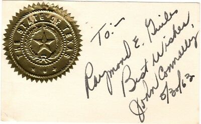 Texas, John Connally, wounded in assassination of John F. Kennedy, signed card