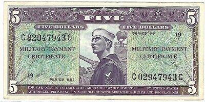 4 Military Payment Certificate MPC Series 681 $5.00 $1.00 unc au cir condition