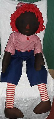"Vintage 38"" Black African American Raggedy Andy Doll"