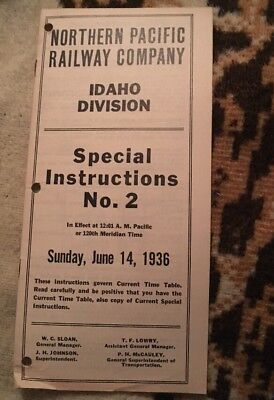 Northern Pacific Railway Company Idaho Division Special Instructions No. 2 1936