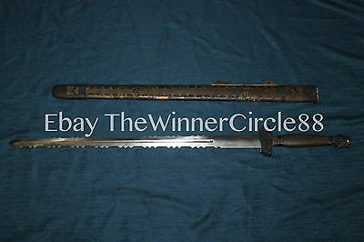 Antique Chinese Rare 18th C Antique Chinese Sawtooth Flamed Jian Sword Ray Skin