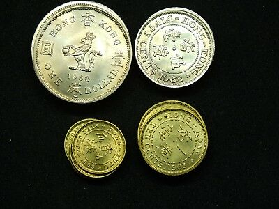 20 Mixed UNC 1960's Hong Kong Coins : Dollar : 50 Cents: 10 cents : 5 Cents