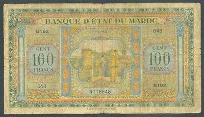 "Morocco 1943 One Hundred Francs Banknote ""ww Ii"" #3888 Low Price, $1.00 Usa Ship"