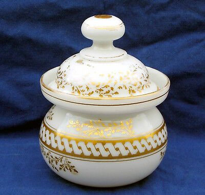 19th century French formal blown and gilded opaline glass sugar bowl circa 1825