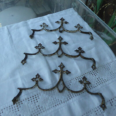 Vtg Antique 3pc Lot Cast Iron Roof Snow Deflecters Gothic Cross Finials Late1800