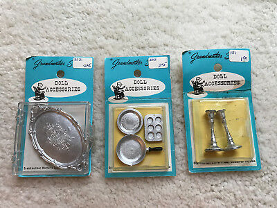 Lot Of Three Vintage Grandmother Stover Dollhouse Miniatures New In Package