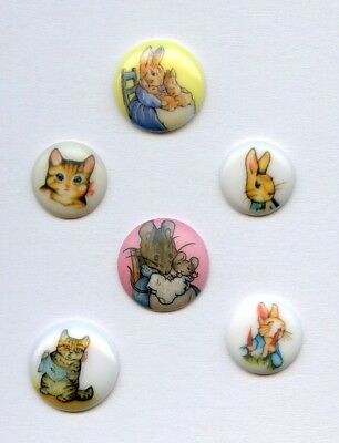 6 small plastic kiddie buttons--?BEATRIX POTTER--CAT--RABBIT--MOUSE++ 2 bkmarked