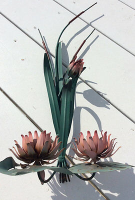 Vintage Tole Cattails Lily Pad Flower Wall Sculpture Sconce/Candleholder Metal