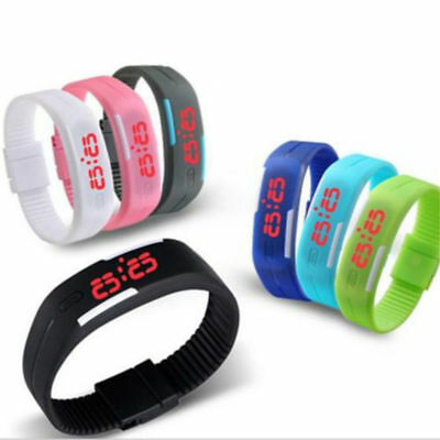 LED Armbanduhr Silikon Uhr Armband Herren Damen Kinderuhr Digital Watch Silicone