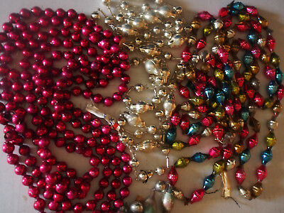 OVER 22ft 7yrd LOT Vtg Antique Mercury Glass Mix Garlands 4 Strings Ornaments