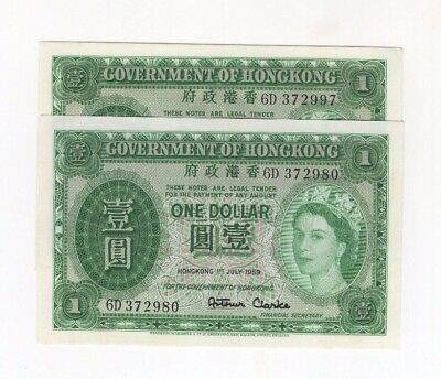 H21 Hong Kong 1 Dollar 1959 P-324Ab Government Almost Consecutive 2 Banknotes