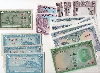 L91 Lao 1 5 10 50 100 Kip 1957-1962-1974 P-1 3 9 12 16 Banknotes lot of 19 Laos