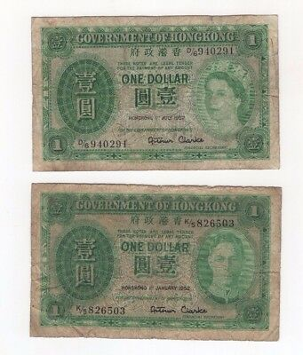 H23 Hong Kong Government $1 Dollar 1952 P-324Ab 324b Lot 2 Banknotes George VI