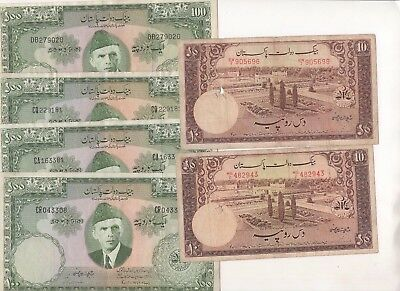 P15 Pakistan 10 100 Rupees 1949-1953-1957 P-13 18 lot of 6 Banknotes Currency