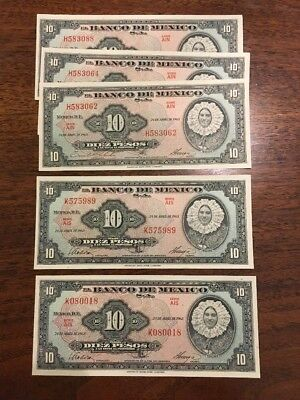 M41 Mexico 10 Pesos 24.4.1963 Banknotes 5 Almost Consecutive Crisp P-58 Currency
