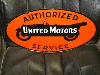 United Motors Service Chevy GMC Small Early DSP Dbl Sided Porcelain Sign Orig