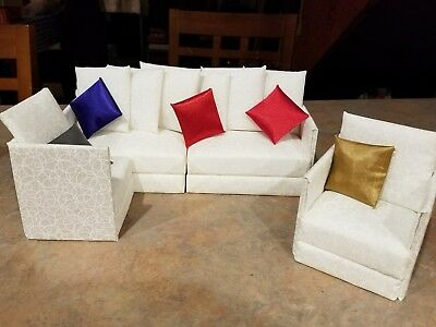 1/6 scale--Barbie doll furniture OOAK white sectional--couch and chair--NEW!