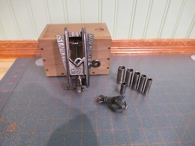 Vintage Stanley No. 59 Dowel Jig Woodworking Carpentry Tool w Wooden Box