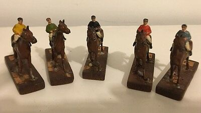 Lot Of 5 Vintage Painted Lead Toy Race Horses Jockeys, Marked Germany