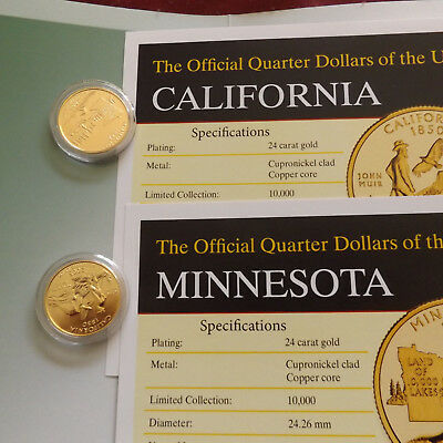 USA STATE QUARTERS Official GOLD PLATED Quarter Dollars CALIFORNIA MINNESOTA
