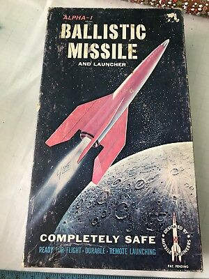 Vintage Toy Ballistic Missile Launcher Alpha-1 w Box Scientific 1950s rare nice