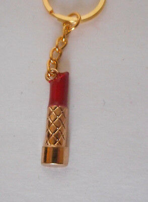 purse or backpack charm, key chain gold tone red lipstick