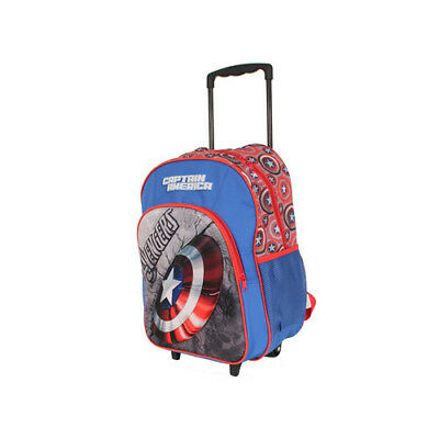 Captain America Shield Trolley Wheelie Suitcase Luggage Travel School Bag for Ki