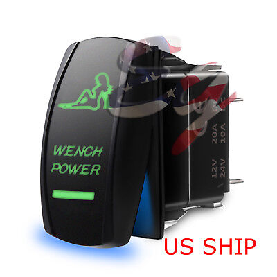 LED SEXY WENCH GREEN ROCKER SWITCH LASER ETCHED 5 PIN 12v 20a LIGHT BAR CAR SUV