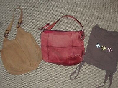 Lot of 3 Handbags Purses Lucky Brand, Fossil, Life is Good