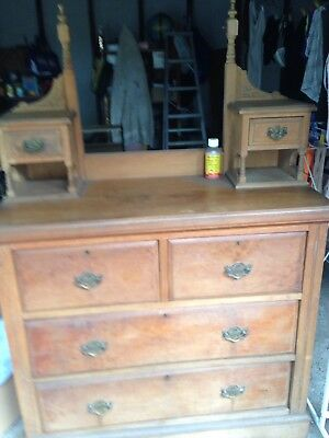 Dressing Table,antique,one Mirror,6 Drawers