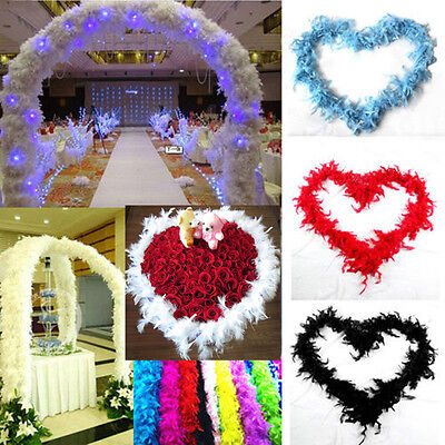 2m Feather Boa Fluffy Craft Costume Wedding Party Dressup Home Flower Decor Pop