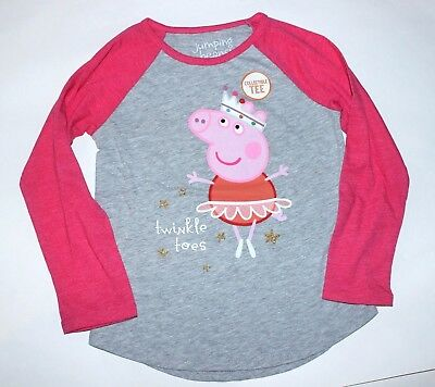 Girls 4T Peppa Pig Long sleeved top Peppa Ballerina Pink Gray Shirt New w tags