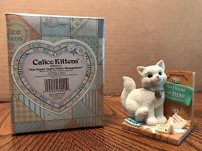 "Enesco Calico Kittens ""This House Under Feline Management"" Cat/Filing  686611"