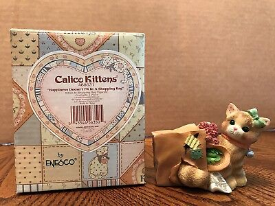 "Enesco Calico Kittens ""Happiness Doesn't Fit In A Shopping Bag"" Cat/Bag  488631"