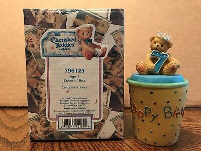 Enesco Cherished Teddies Birthday Age 7 Covered Box  796123