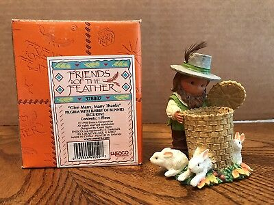 """Enesco Friends Of The Feather """"Give Many, Many Thanks"""" Pilgrim/Bunnies  378887"""