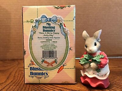 """Enesco My Blushing Bunnies """"Have A Berry Happy Holly-Day"""" Bunny/Holly  386898"""
