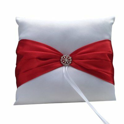 Wedding Ceremony Satin Ring Bearer Pillow Cushion Red Ribbon Decor White PK A5Y6