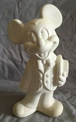 WALT DISNEY PRODUCTIONS Mickey Mouse Ceramic White STATUE Standing