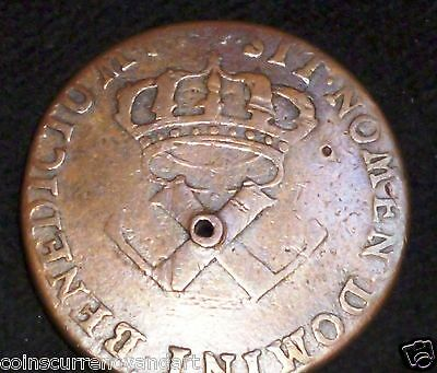 1721 H FRENCH COLONIES - COPPER SOU of 9 DENIERS  KM# 5.2