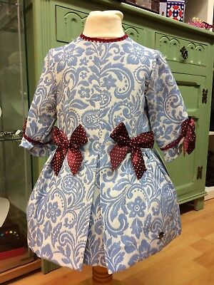*New Winter* Girls Romany Spanish  Jacquard Blue Dress with Lace bows Age2-8