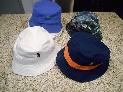 36dd7cd1 NEW Polo Ralph Lauren Reversible Bucket Beach Golf Hat White Navy Blue L/XL  S