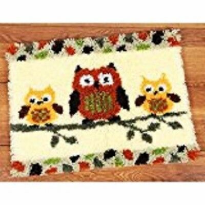 "Latch Hook Rug Kit""Three Owls on a Branch"" 52x38cm"