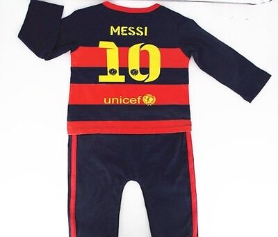 Barca No 10 Messi Baby Soccer SportLong Sleeve Jumpsuit  6-12 Months(Aus Seller)